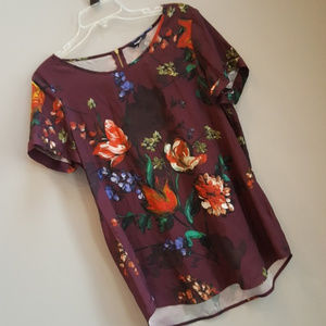 Burgundy Floral Express Gramercy Blouse Satin Top